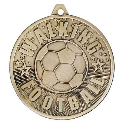 Cascade Walking Football Iron Medal Antique Gold 50mm